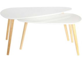 Tables gigognes en bois galet (Lot de 2) (Blanc)