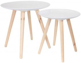 Tables gigognes rondes blanches déco (Lot de 2)