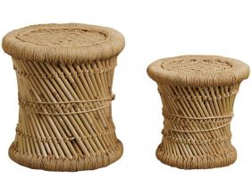 Tabourets en roseau (Lot de 2) (Motif naturel)