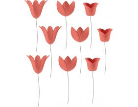 Tulipe en relief (Lot de 9) (Corail)
