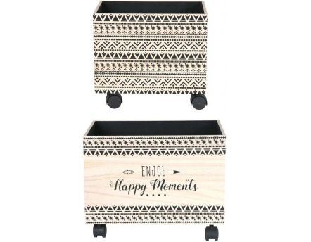 Bac de rangement sur roulettes Happy moments (Lot de 2)