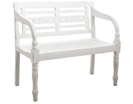 Banc 2 places en acajou (Blanc antique)