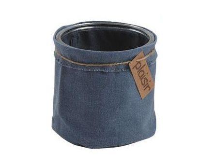 cache pot en verre et tissu color bleu. Black Bedroom Furniture Sets. Home Design Ideas