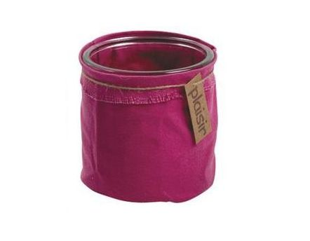 cache pot en verre et tissu color fuchsia. Black Bedroom Furniture Sets. Home Design Ideas