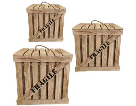 Cagette en bois naturel Fragile (Lot de 3)