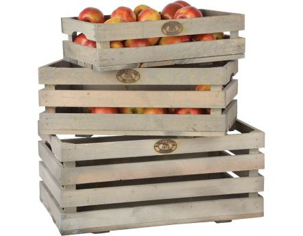 Caisses à fruits en pin (Lot de 3)