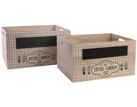 Caisses gigognes en bois ardoise My Little Market (Lot de 2)