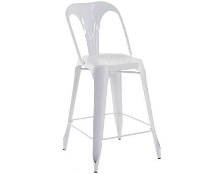 Chaise de bar esprit industriel (Lot de 2) (Blanc)