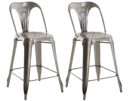 Chaise de bar esprit industriel (Lot de 2) (Gris clair)