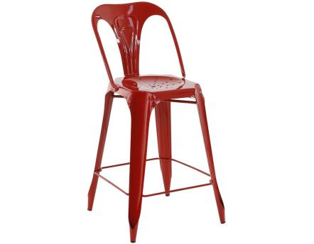 Chaise de bar esprit industriel (Lot de 2) (Rouge)
