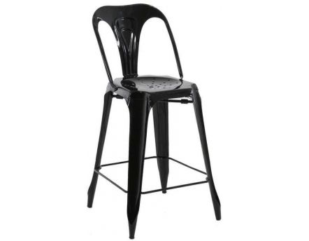 Chaise de bar esprit industriel (Lot de 2) (Noir)