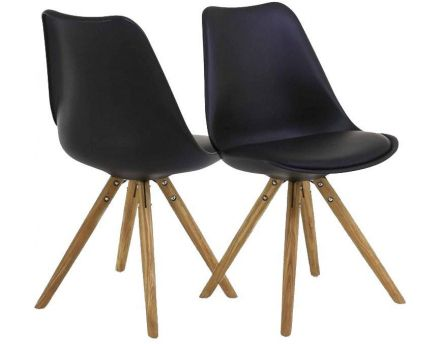 Chaise design Cross (Lot de 2) (Noir)