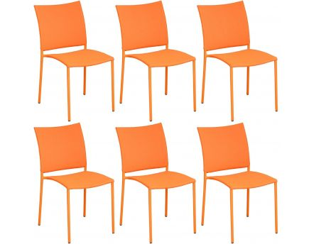 Chaise de jardin design Bonbon (Lot de 6) (Orange)