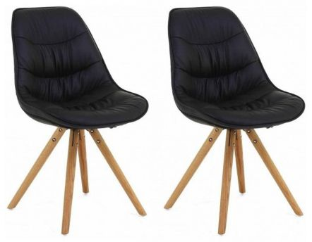 Chaise repas design Lotus (Lot de 2) (Noir)