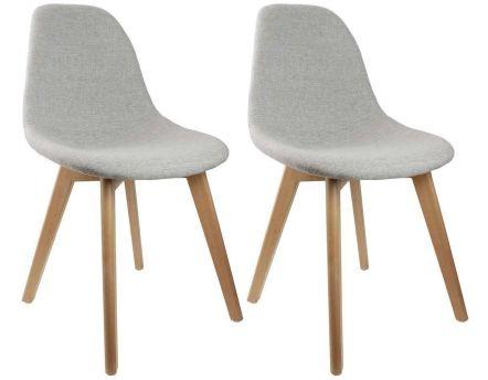 chaise scandinave en tissu et pieds en bois lot de 2 gris - Chaises Scandinaves Grises