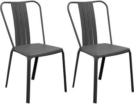 Chaises En Aluminium Azuro Lot De 2 Noir
