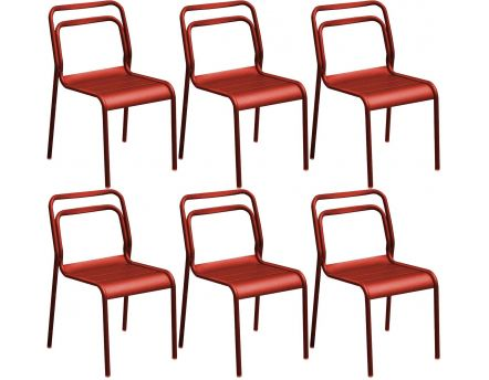 Chaises en aluminium Eos (Lot de 6) (Rouge)
