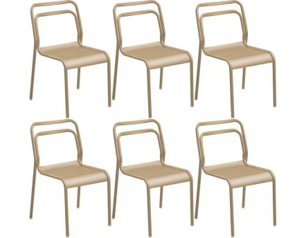 Chaises en aluminium Eos (Lot de 6) (Sable)