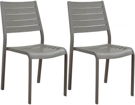 Chaises en aluminium Flower (Lot de 2) (Taupe)