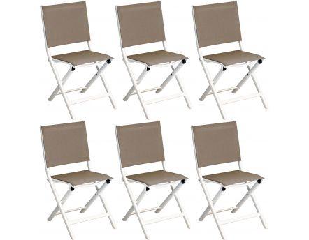 Chaises Pliantes En Aluminium Thema Lot De 6 Blanc Taupe