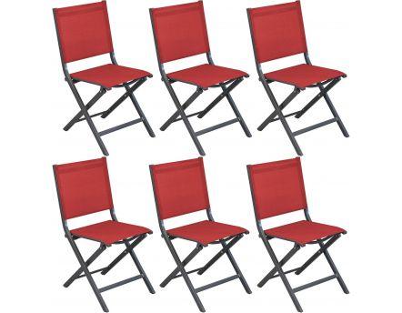 Chaises Pliantes En Aluminium Thema Lot De 6 Gris Rouge