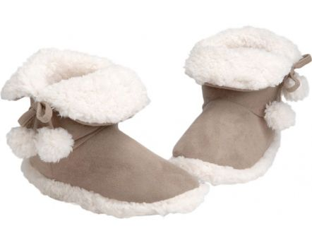 Chaussons Pompons tout doux pointure 37/38 (Taupe)