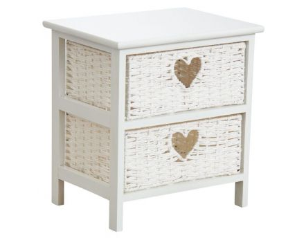 Commode blanche 2 tiroirs avec coeurs