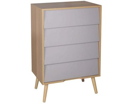 Commode scandinave en bois 4 tiroirs (Taupe)