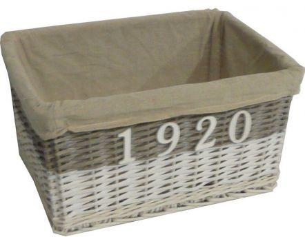corbeille de rangement en osier gris et coton taille 1. Black Bedroom Furniture Sets. Home Design Ideas