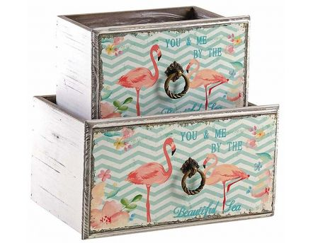 Corbeille tiroir en bois flamants roses (Lot de 2)