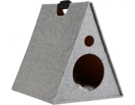 Couchette chat tipi design (Gris clair)