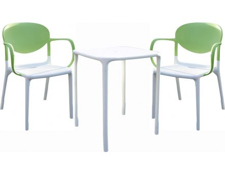 Ensemble Green Garden 1 table + 2 fauteuils