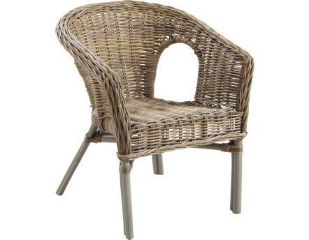 fauteuil polo en rotin gris avec coussin. Black Bedroom Furniture Sets. Home Design Ideas