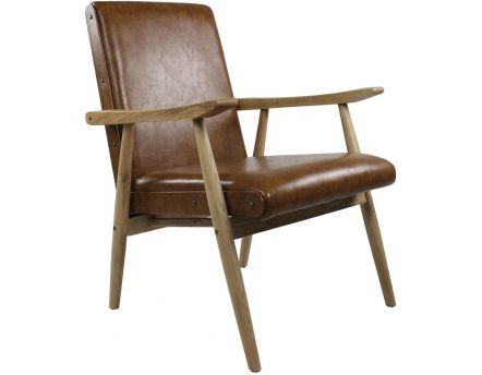 Fauteuil vintage aspect cuir Alfred (Camel)