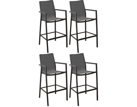 Fauteuils de bar en aluminium Ida (Lot de 4) (Gris)