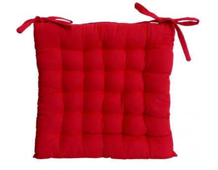 Galette de chaise en coton uni 40 cm 25 points (Rouge)