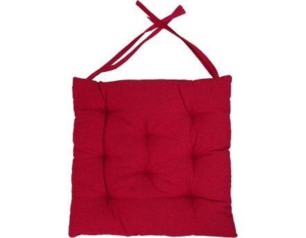 Galette de chaise en coton uni 40 cm 8 points (Rouge)