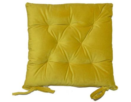 Galette de chaise en velours 8 points 40 cm (Jaune curry)