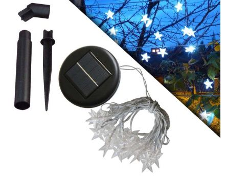 Guirlande solaire etoiles 20 leds blanches 3m80