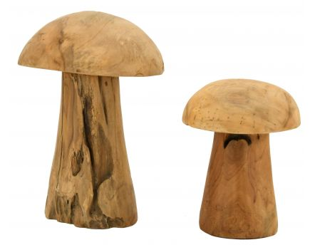 Champignons en teck naturel (Lot de 2)