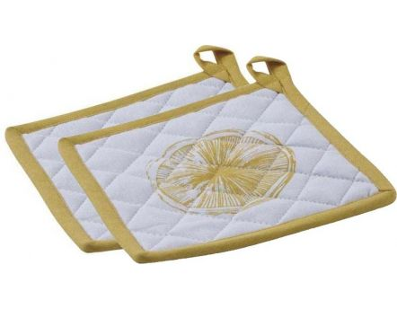 Manique en coton Citron (Lot de 2)