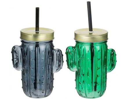 Mason jar cocktail Cactus 40 cl (Lot de 2)