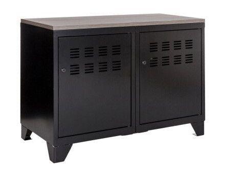 meuble rangement mtallique 2 portes noir