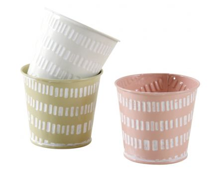 Mini cache-pot rond pastel (Lot de 3)