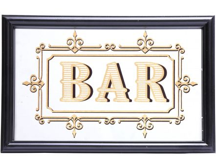Miroir inscription Bar feuille d'or