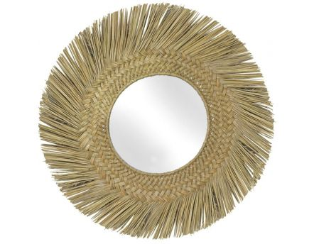 Miroir en jonc naturel 70 cm (Naturel)