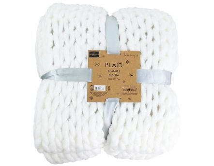 Plaid grosses mailles Chunky 120 x 150 cm (Blanc)