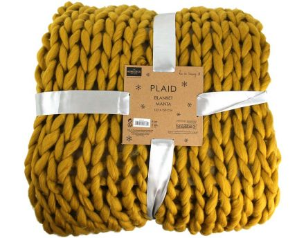 Plaid grosses mailles Chunky 120 x 150 cm (Jaune)