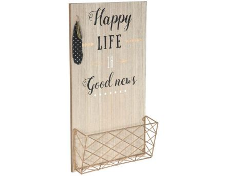 Porte courrier mural en bois (Happy life)