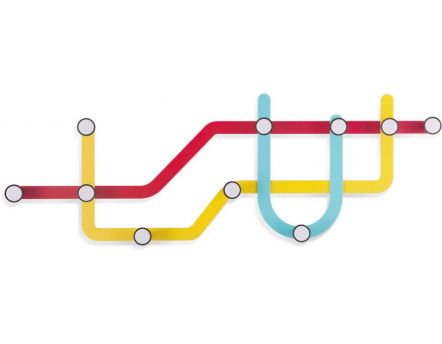 Porte manteaux design mural Subway (Multicolore)